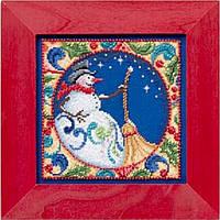 """Набор для вышивания бисером и мулине """"Снеговик"""" Mill Hill - Snowman JS304103"""