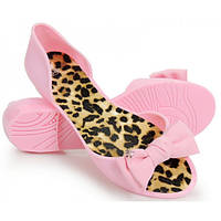 03-14 Розовые резиновые женские балетки с открытым носиком NGM-140020 40,39