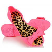03-14 Розовые резиновые женские балетки с открытым носиком NGM-140026 39,40