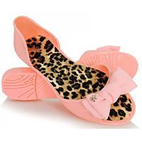 03-14 Розовые резиновые женские балетки с открытым носиком NGM-140096 40
