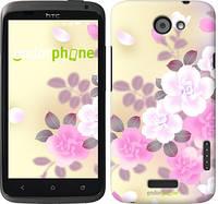 """Чехол на HTC One X Японские цветы """"2240c-42-532"""""""