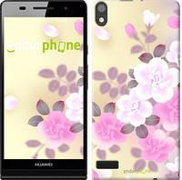 """Чехол на Huawei Ascend P6 Японские цветы """"2240c-39-532"""""""