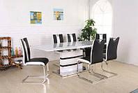 Стол раскладной Филадельфия DT-9108 белый, столешница глянцевый МДФ с каленым стеклом 1200(+400)х900х760