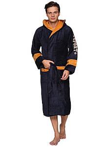 Мужской натуральный халат с капюшоном-Sport