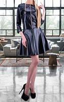 Черный кожаный костюм куртка с юбкой