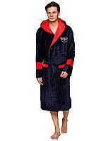 Натуральный спортивный мужской халат с капюшоном