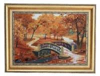 Картина пейзаж из янтаря ручной работы, 51х39 см