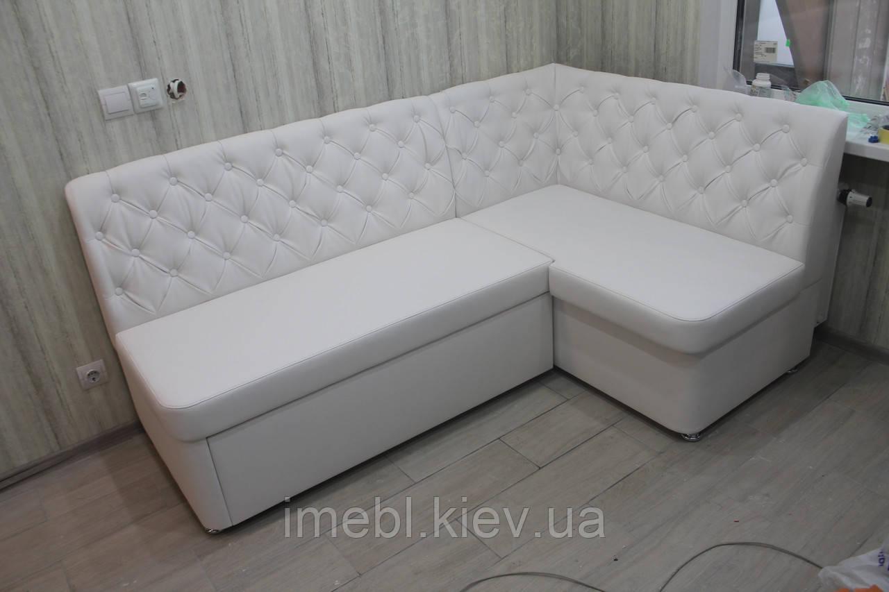 М'які меблі меблі на кухню в замінники шкіри білого кольору