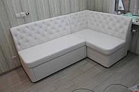 М'які меблі меблі на кухню в замінники шкіри білого кольору, фото 1