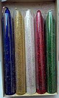 Свечи декоративные перламутровые с блеском микс 10 штук 16см