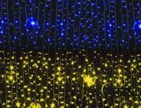 Гирлянда Штора (Curtain) желто-синяя 1,5*1 м, гарантия 12 месяцев