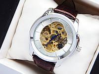 Мужские механические часы скелетоны - серебряный корпус, коричневый ремешок