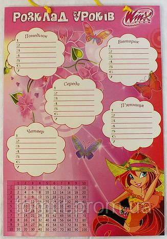 """Расписание уроков """"Monster High - Винкс"""", двухстороннее, на шнурке, фото 2"""