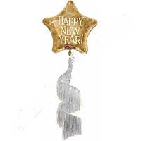 Фольгированный шар Ходячая фигура Новогодняя звезда 97 см