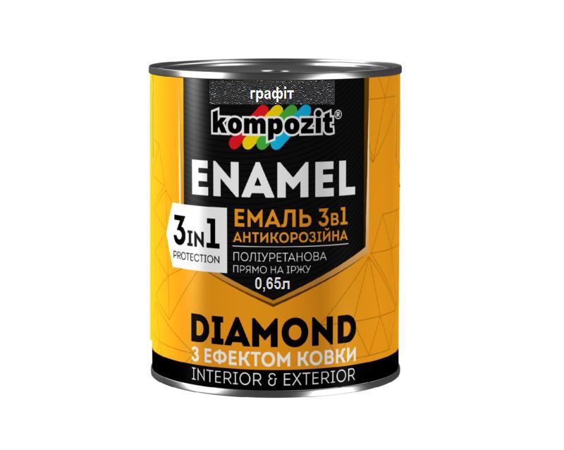"""Эмаль-грунт полиуретановая KOMPOZIT """"3 в 1 DIAMOND"""" антикоррозионная графит 0,65л"""