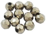 Бусины стеклянные граненные круглые непрозрачные 6мм, цвет серебристый УТ0005862
