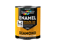 """Эмаль-грунт полиуретановая KOMPOZIT """"3 в 1 DIAMOND"""" антикоррозионная зеленая 0,65л"""