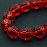 Бусины стеклянные круглые прозрачные 8мм, граненые, цвет красный УТ000007093