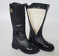 Зимние кожаные детские высокие сапоги