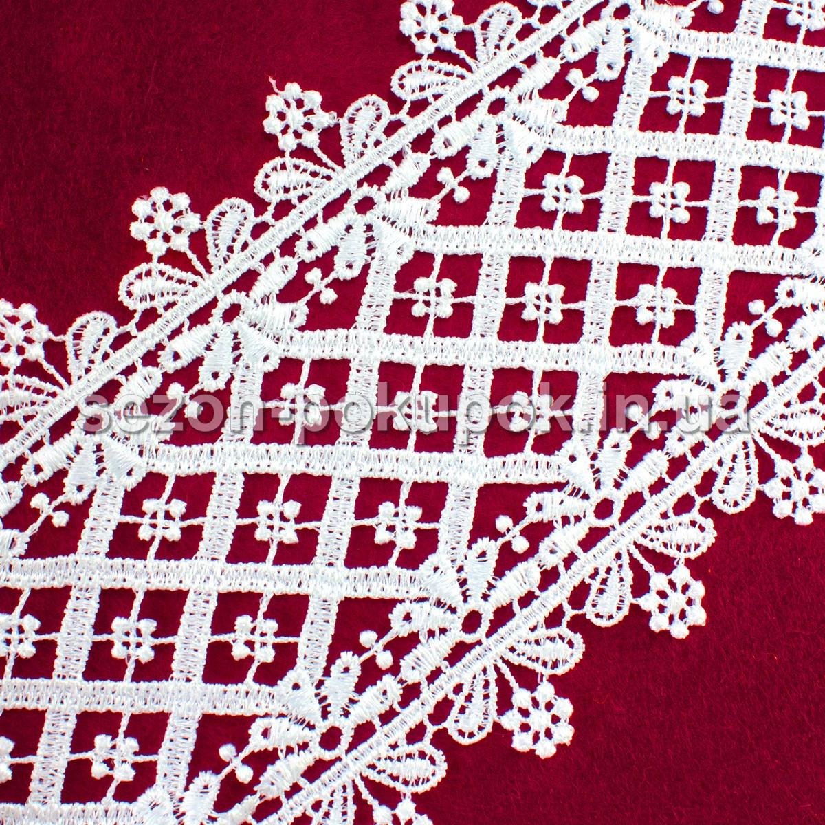 (20 ярдов) Кружево макраме с кордом Код 10518, ширина 10,5см Цвет - БЕЛЫЙ