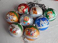 Новогодние игрушки шары на елку з собачкой 10см