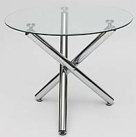 Стол стеклянный круглый АТ1-103, каленое прозрачное стекло 10 мм, хромированные ножки
