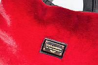 Вместительная женская стеганая сумка с мехом.