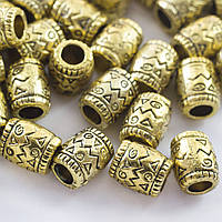 Бусины разделители металлические, бочка, 8х6,5мм, античное золото (2 шт) УТ0027668