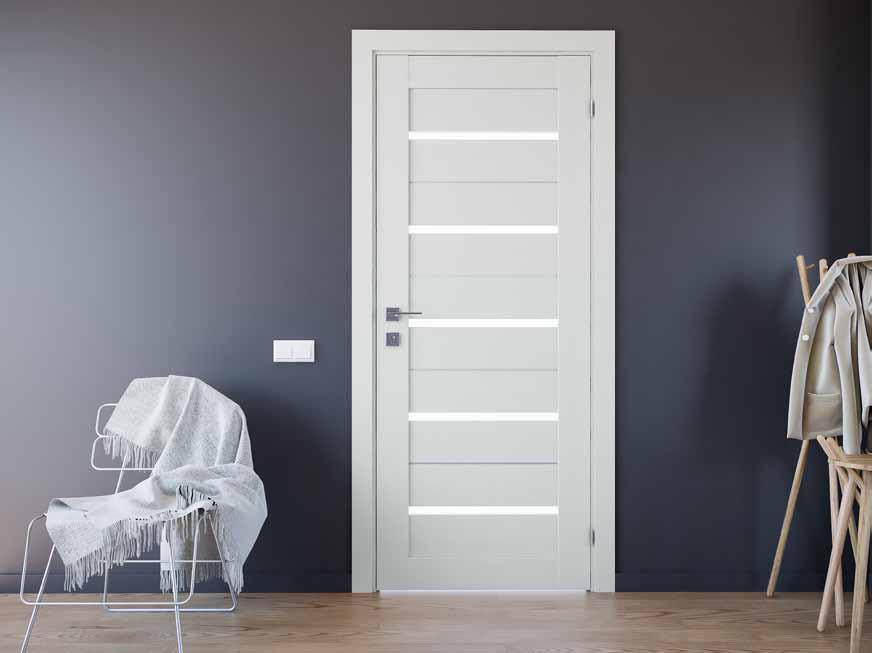 Lazio  Двери межкомнатные Двери RODOS с ПВХ покрытием стекло сатин+молдинг