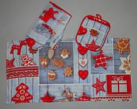 Набор новогодний кухонный вафельный полотенце, прихватка и рукавица