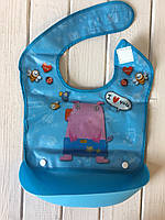 Слюнявчик с силиконовым ковшом синий, фото 1