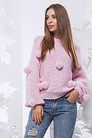 Свитер женский вязанный Бубоны (5 цв), женский свитер с бубонами, вязаный свитер , фото 1