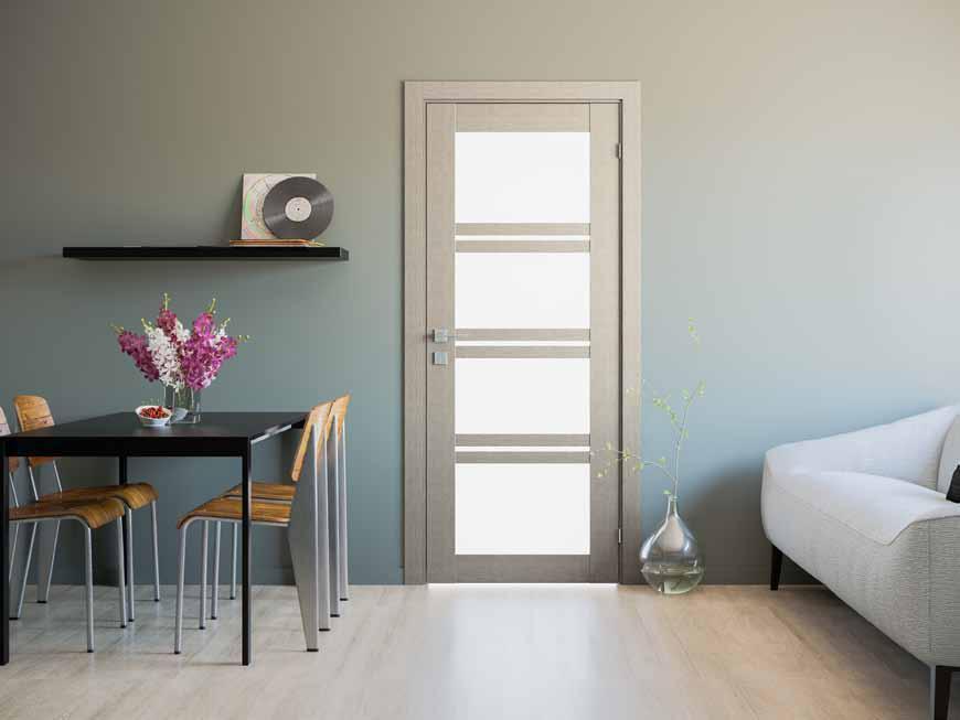 Quadro  Двери RODOS межкомнатные с ПВХ покрытием стекло сатин