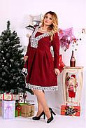 Женское нарядное платье бордового цвета 0658 / размер 42-74 , фото 3