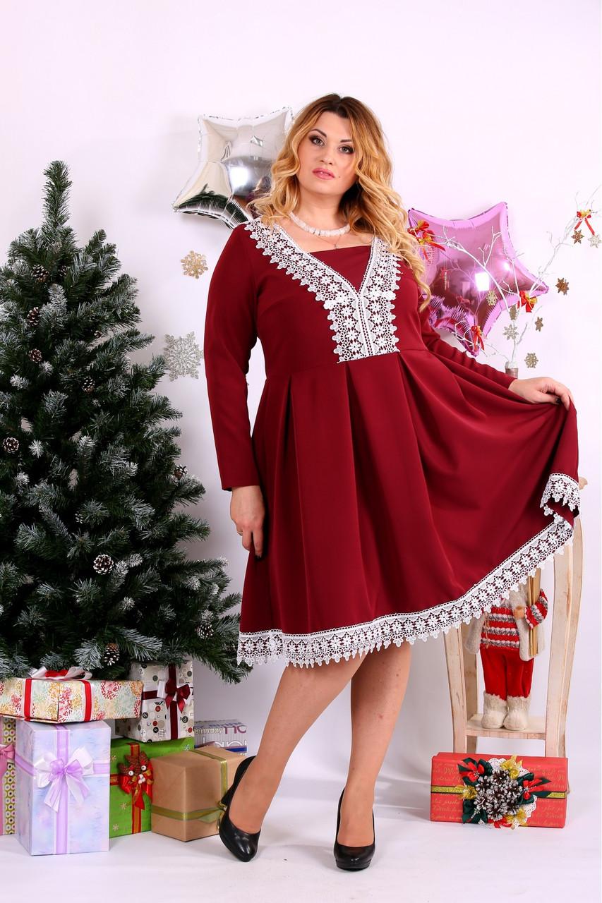 Женское нарядное платье бордового цвета 0658 / размер 42-74