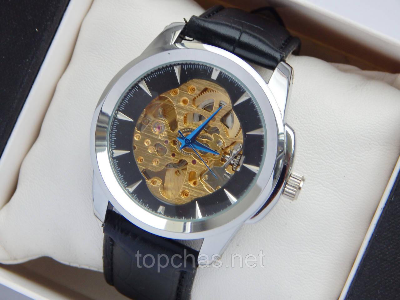 Мужские механические часы скелетоны - серебряный корпус, черный ремешок -  Top Chas - Интернет магазин c0718c46786
