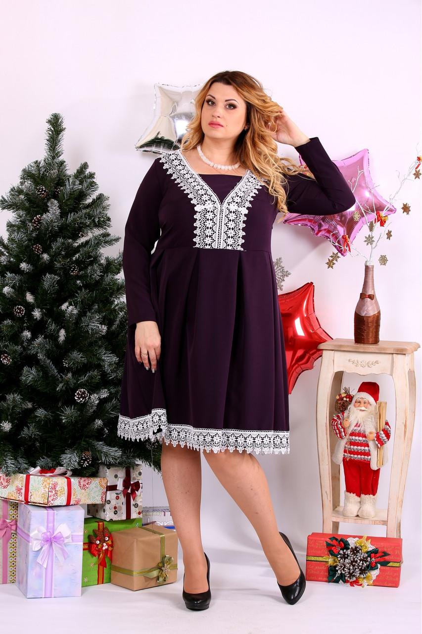Женское нарядное платье баклажанового цвета 0658 / размер 42-74