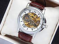 Мужские механические часы скелетоны, римские цифры, шестерни, на циферблате