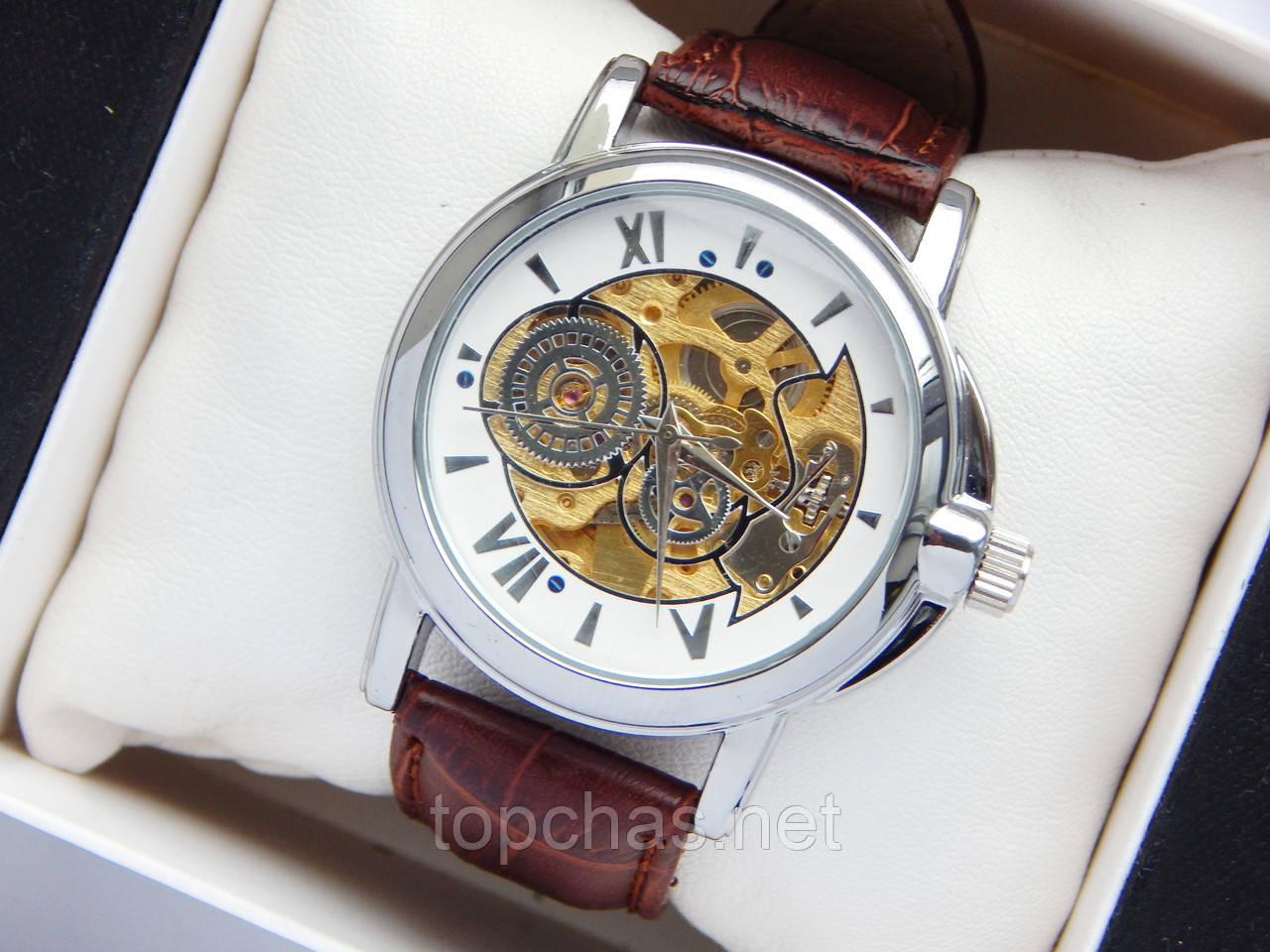 Мужские механические часы скелетоны, римские цифры, шестерни, на циферблате  - Top Chas - e9b6c1ee395