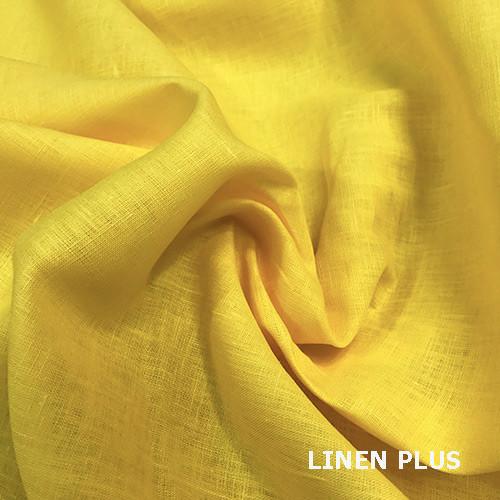 Желтая  льняная ткань 100% лен, цвет 495