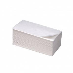 Полотенце бумажное белое 1 слой целлюлоза ZZ сложение 150 шт/уп, 24,5х23 см.