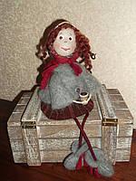 Авторская текстильная кукла ручной работы Девочка в платочке- подарок на Новый год