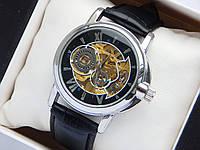 Мужские механические часы скелетоны, серебро, шестерни на циферблате