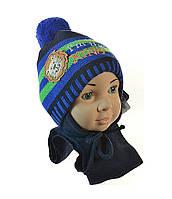 Зимний набор (шапка и шарф) Grans для мальчика, размер 44-46 см ( 7-12 мес)