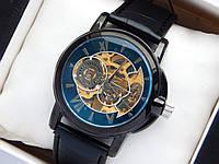 Мужские механические часы скелетоны, черные, шестерни на циферблате, фото 1