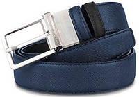 Мужской классический двухсторонний кожаный ремень Piquadro CRAYON/Black-Blue CU3051AY_NB  ДхШ: 125х3,5 см.