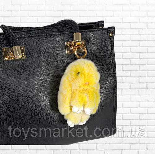 Детская мягкая игрушка,зайка,пушистый брелок,желтый с белым