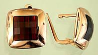 Золоті сережки  з гранатом