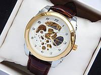 Механические часы скелетоны Слава Созвездие, золото, белый циферблат