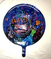 Шар фольгированный Happy New Year 18 дюмов  синий